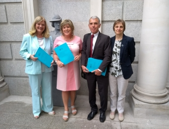 L to R: Sinead Dooley, Mary Butler TD (Chair of JBEI), Noel Kinahan, Siobhan Kinahan