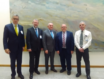 L to R: Harald Felzen (Project Manager Europe, SBFIC), Niclaus Bergmann(CEO, SBFIC), John McGuinness TD (Chairman FINPERT Committee), Seamus Boland (CEO, Irish Rural Link), Noel Kinahan (Policy Researcher, IRL)